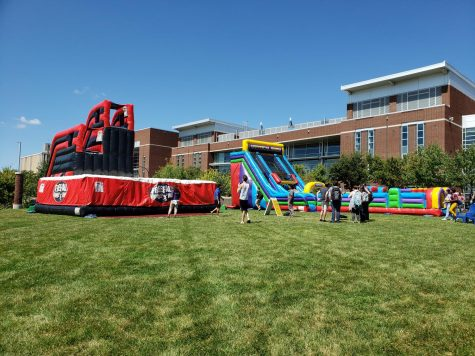 These two inflatables stationed outside of the Jean Hower Taber Student Union drew a large crowd.