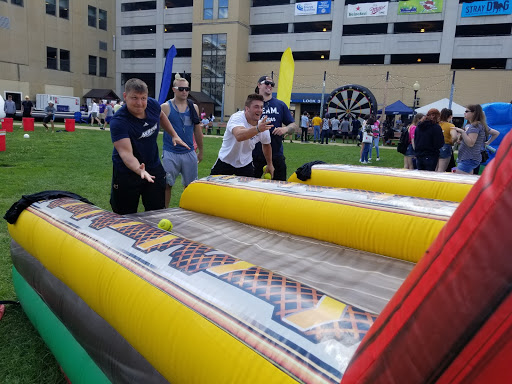 Students enjoying games at Lock 3 during the Fall in Love with Akron Fest.