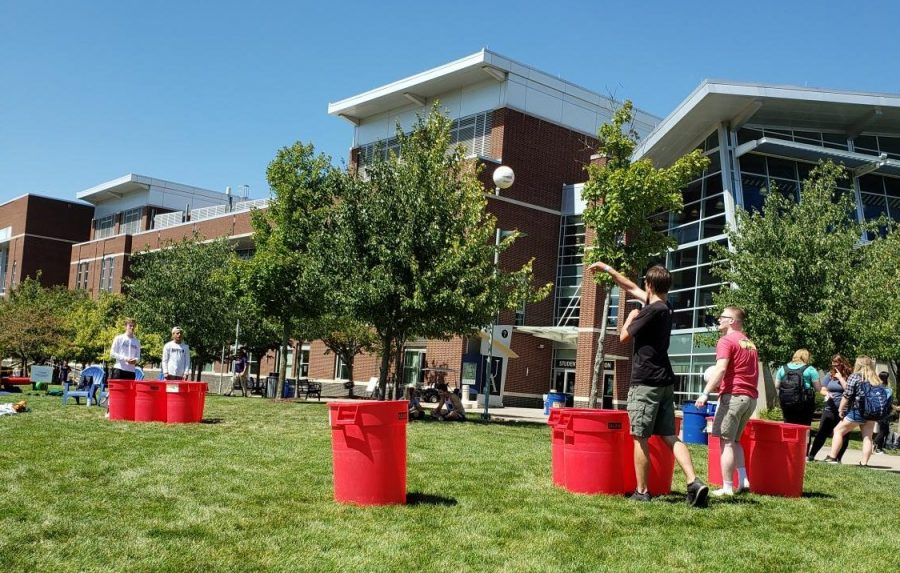 While no alcohol was involved in this activity, students gathered to watch different games of giant mock beer pong.
