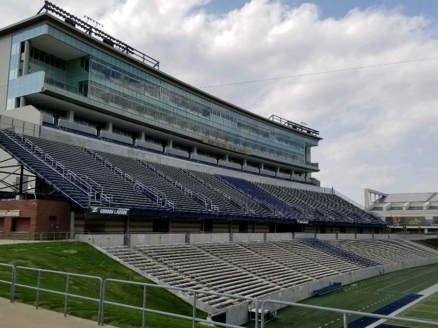 InfoCision Stadium at The University of Akron, with a seating capacity of around 30,000 people.