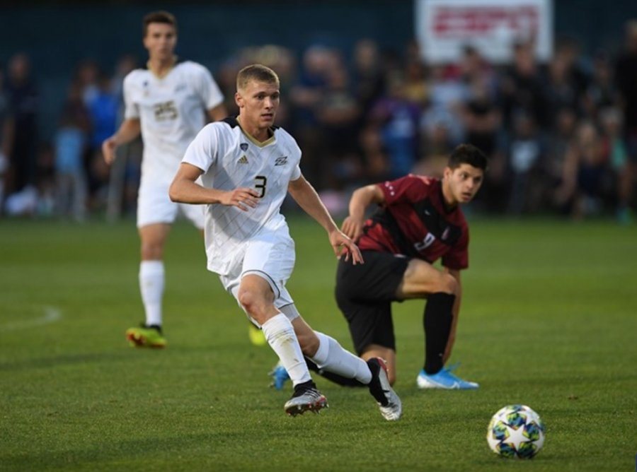 The University of Akron Men's Soccer team in their match against Stanford.