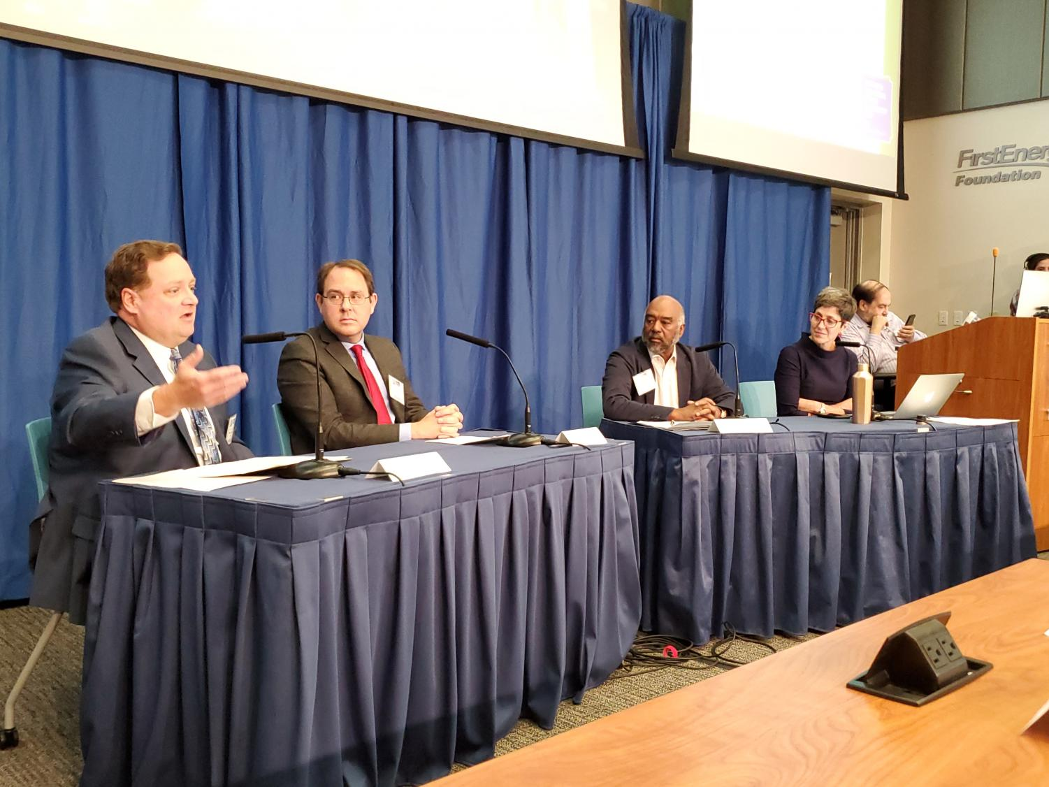 "Mike Shearer, Chad Painter, Jim Crutchfield and Kelly McBride (left to right) participated in the panel, ""Activism, Advocacy, Journalism and Public Relations."""