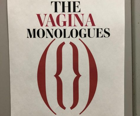 "Flyers are located across campus with information on ""The Vagina Monologues"" performance."