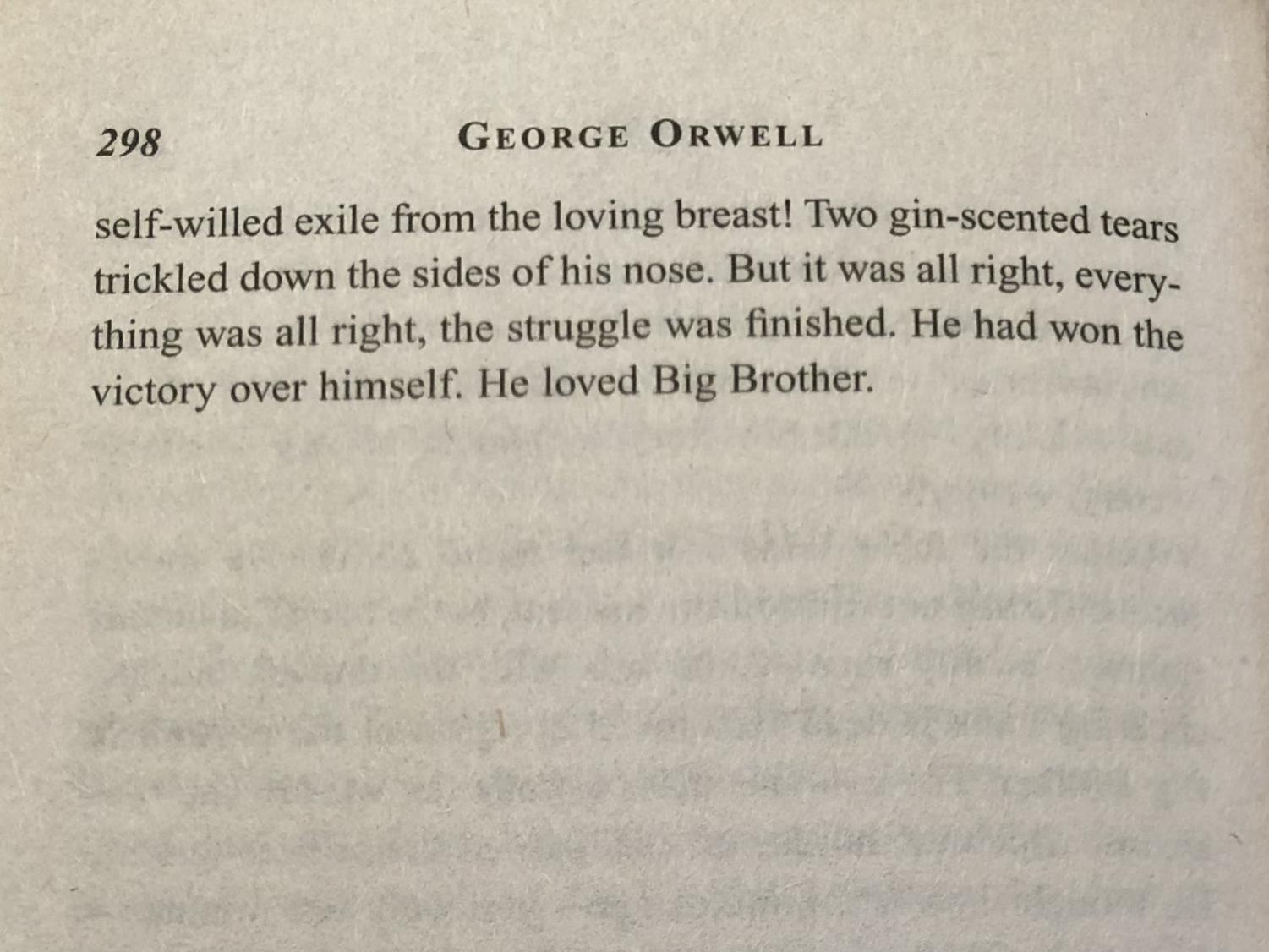 """An excerpt from page 298 of """"1984"""" by George Orwell."""
