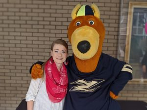 RubberDucks Hot Dog Recipe Challenge winner Elexis Hamby with UA's favorite mascot, Zippy.