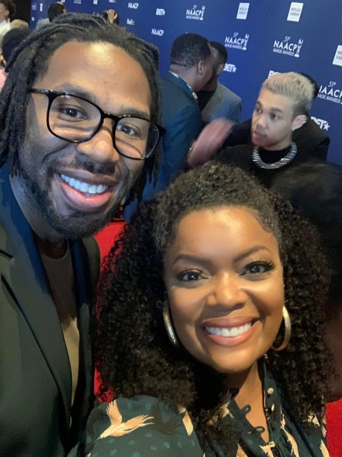 Matthew Cherry and Yvette Nicole Brown pose for a photograph during the Nominees Luncheon on Feb. 1, 2020.