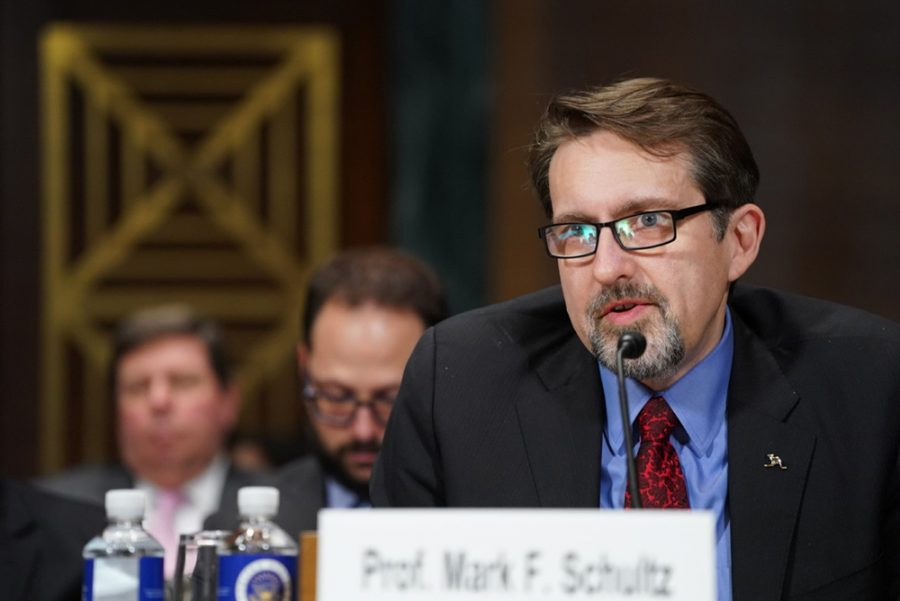 New School of Law Professor Mark F. Schultz is seen here testifying at the Feb. 11 U.S. Senate Subcommittee on Intellectual Property hearing.