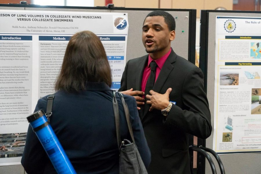 Students who present during the symposium have the chance to improve interpersonal communication and gain knowledge from peers outside their field.