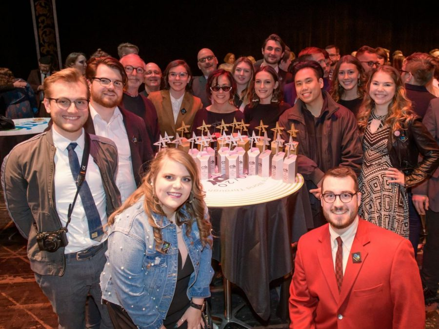 A+group+of+students+and+faculty+with+their+awards+at+the+2020+American+Advertising+Awards.