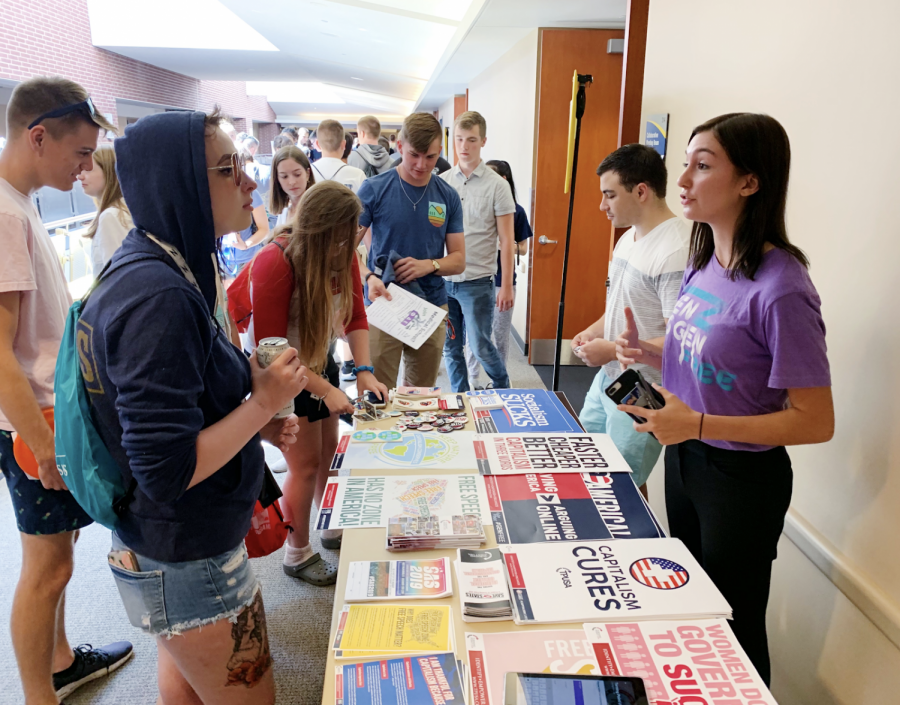 Members of The University of Akron's Turning Point USA tabling in the Jean Hower Taber Student Union.