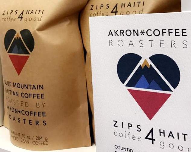 Zips for Haiti coffee is roasted by the Akron Coffee Roasters.