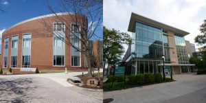 A unification of The University of Akron School of Law (left) and the Cleveland-Marshall College of Law would be the only one in the U.S. to be part of two different urban public research universities.