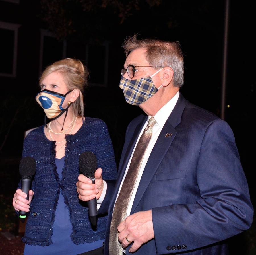 President Miller and his wife, Georgia, wore face masks and encouraged all those out celebrating the anniversary to do the same to keep their fellow Zips safe.