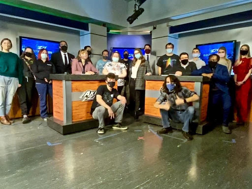 The ZTV Election Night Special team group photo in the studio at Kolbe Hall University of Akron after the end of production.