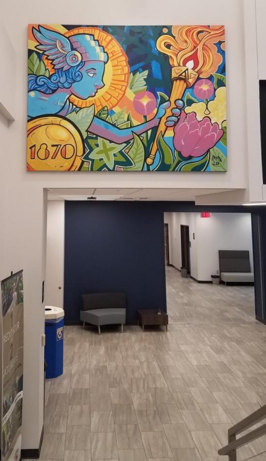 Multidisciplinary artist and Myers Alumni Matt Miller's completed painting located in The College of Business Administration building.