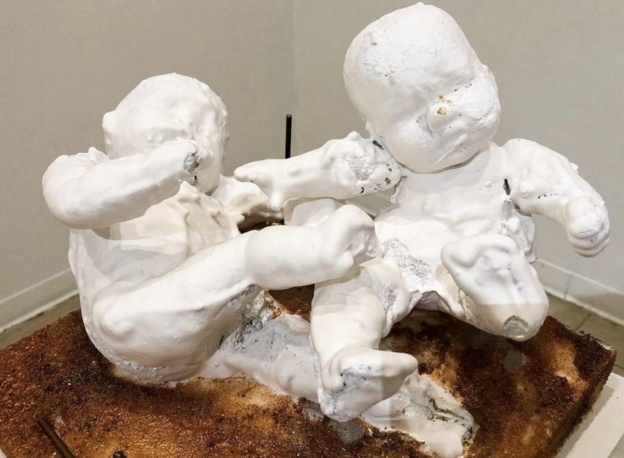 """Honorable mention: Fortune Uzo-Ngerem 'What is the definition of """"whitewashed""""?,' 2020. Plaster, steel rods, mixed media."""